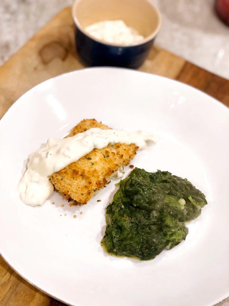 Panko Encrusted Salmon with homemade Tartar Sauce