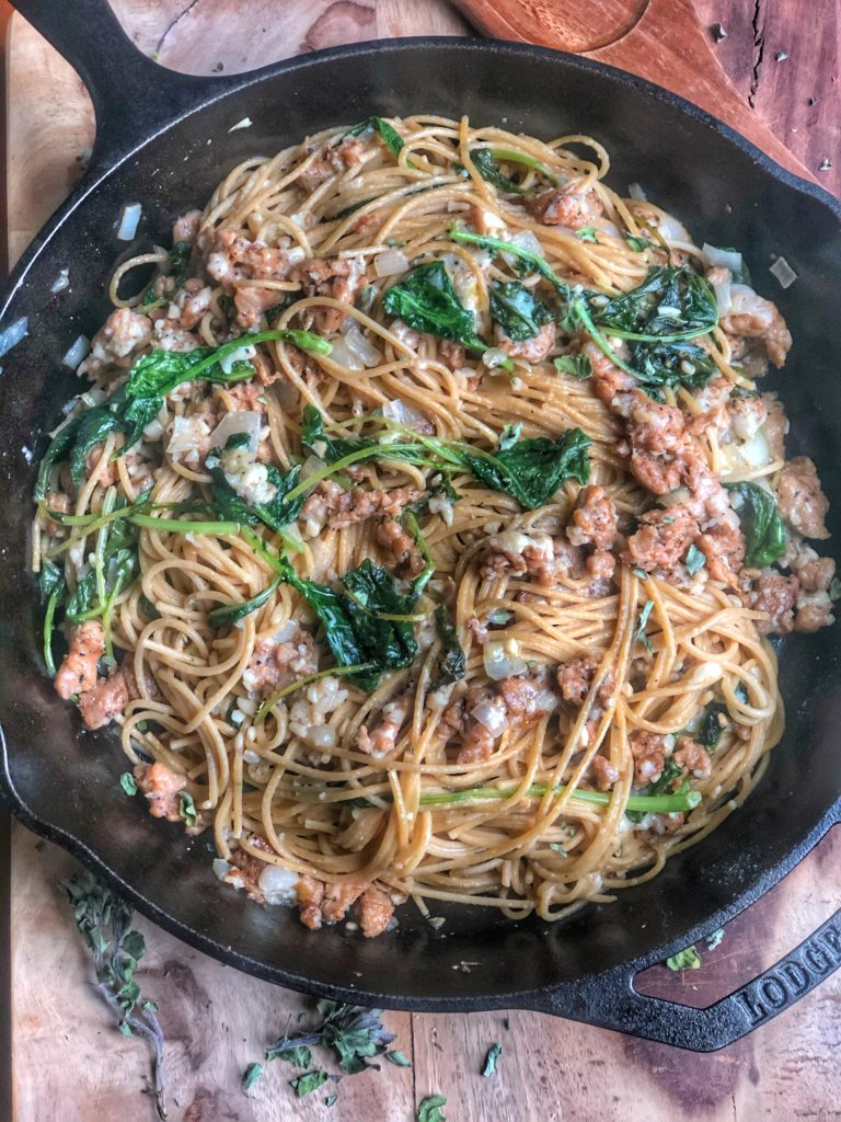 Linguine with Chicken Sausage and Broccoli Rabe