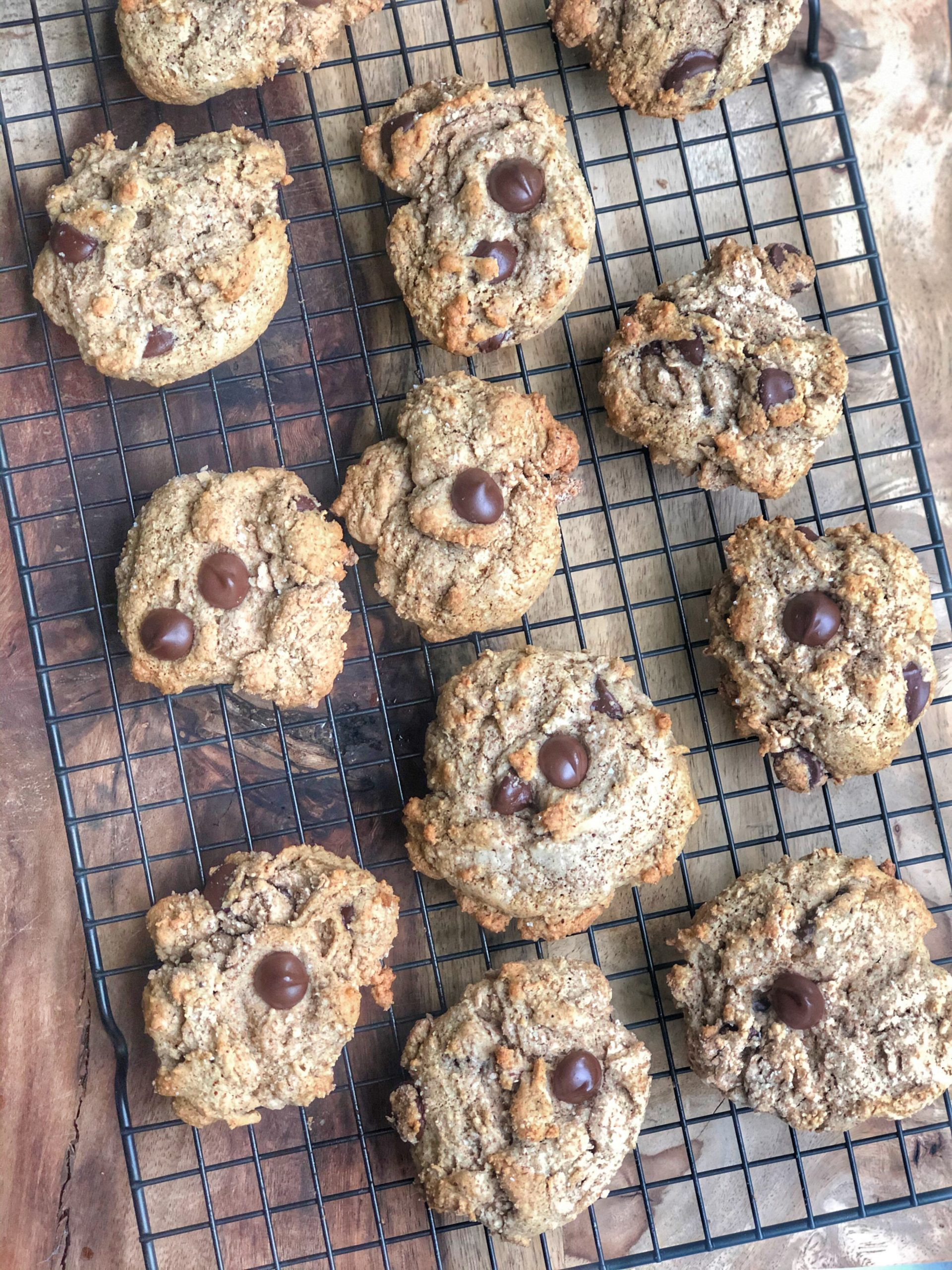gluten free chocolate chip cookies on a cooling rack