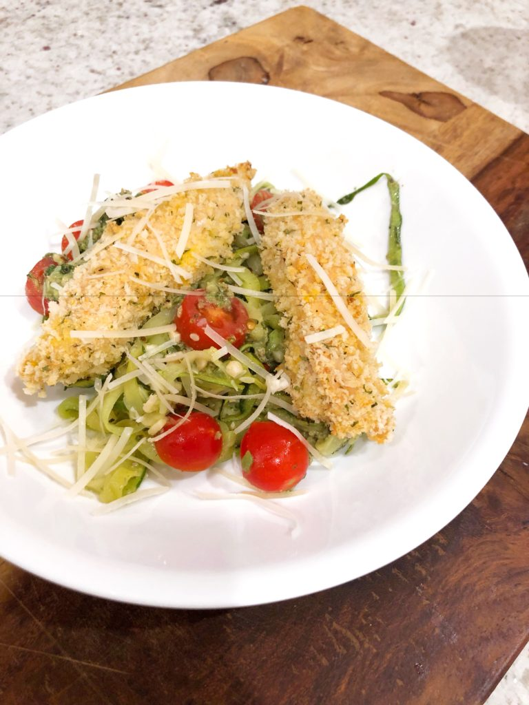 Panko Chicken over Zoodles with Homemade Pesto