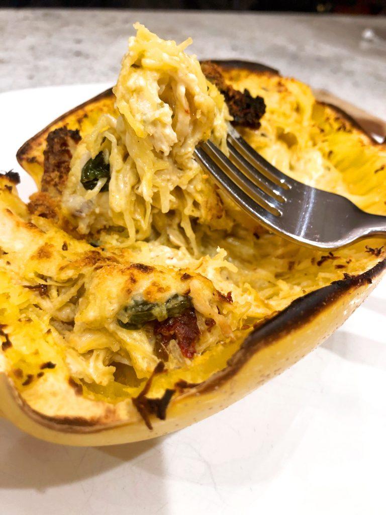 Cheesy Spinach and Chicken Spaghetti Squash