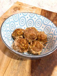 super moist ground turkey balls in a decorative blue bowl