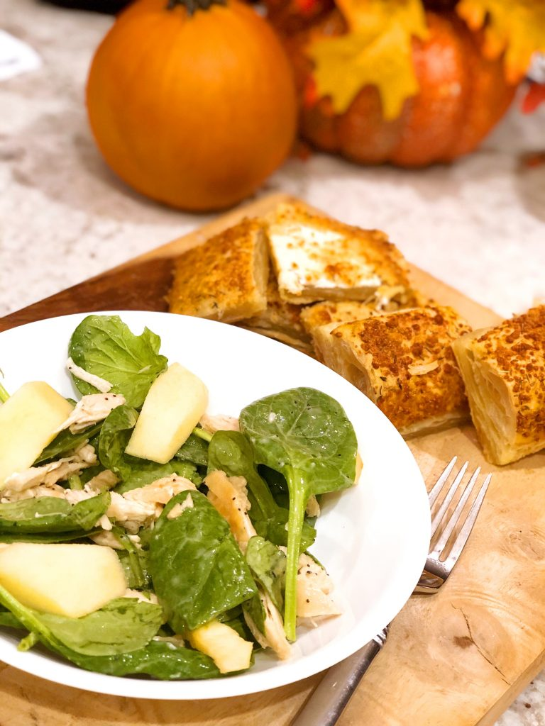 Poppy Seed Chicken Salad with Cheese Crisps