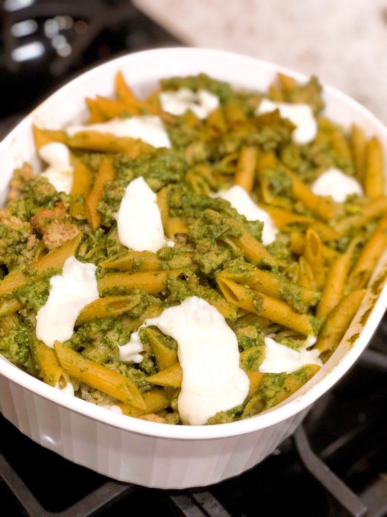 Baked Ziti w/ Ground Turkey and Homemade Pesto
