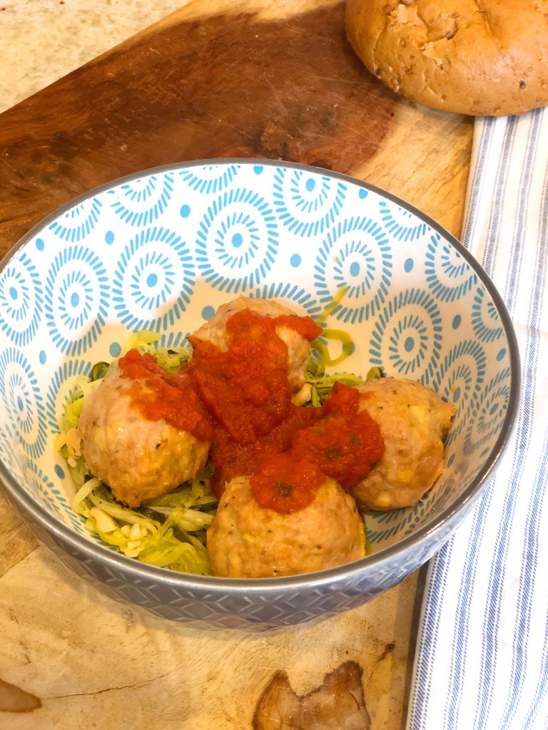 Ground Turkey Meatballs and Zoodles