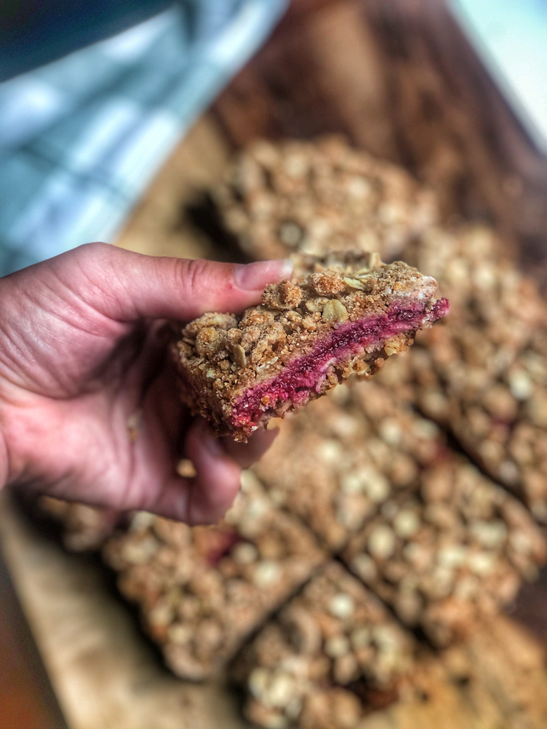 a close up of berry oatmeal breakfast bars