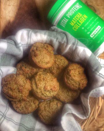 matcha muffins in a basket