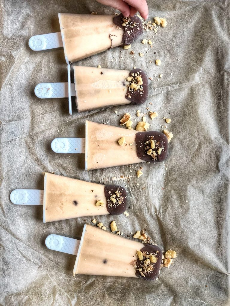 Chocolate Covered Banana Peanut Butter Ice Pops