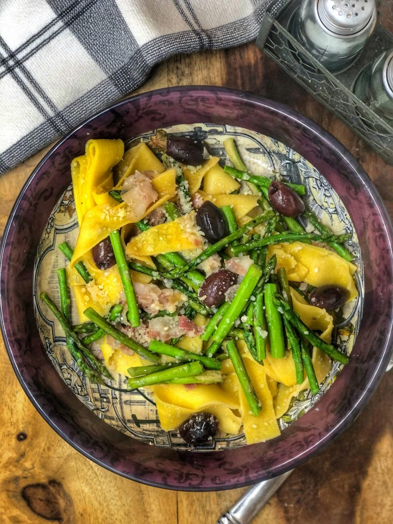 Asparagus Olives and Pancetta Pappardelle