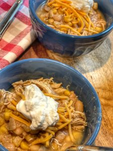 close up of healthy white bean chicken chili